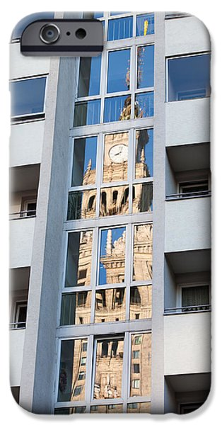 Palace of Culture and Science Abstract Reflection iPhone Case by Artur Bogacki