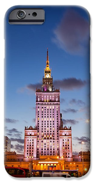 Palace of Culture and Science at Dusk in Warsaw iPhone Case by Artur Bogacki