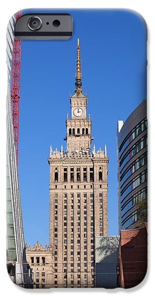 Polish Culture iPhone Cases - Palace of Culture and Science in Warsaw iPhone Case by Artur Bogacki