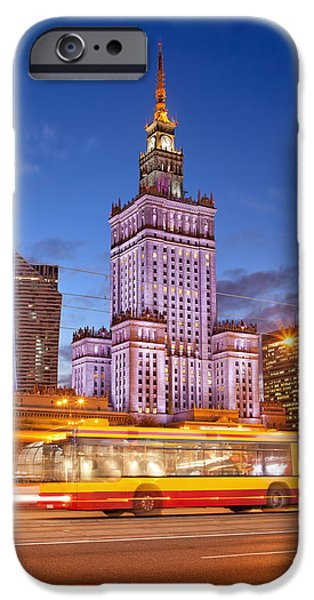 Polish Culture iPhone Cases - Palace of Culture and Science in Warsaw at Dusk iPhone Case by Artur Bogacki