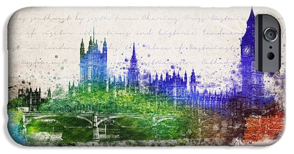 River Mixed Media iPhone Cases - Palace of Westminster iPhone Case by Aged Pixel