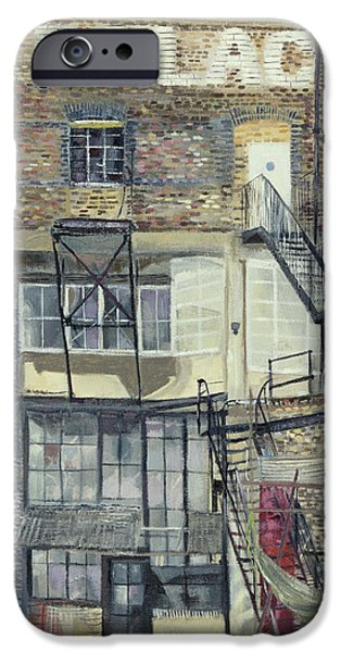 Industrial iPhone Cases - Palace Wharf, Rainville Road Oil Pastel On Paper iPhone Case by Sophia Elliot