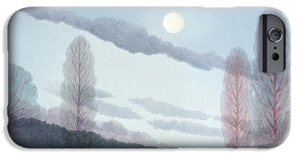 River iPhone Cases - Pale Moon, 2002 Oil On Canvas iPhone Case by Ann Brain