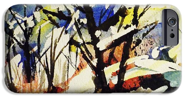 Splashy Paintings iPhone Cases - Palenville Winter Abstract - Catskills iPhone Case by Ellen Levinson