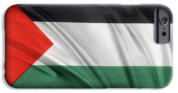 Textile Photographs iPhone Cases - Palestine flag iPhone Case by Les Cunliffe