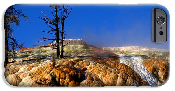 Mammoth Terrace iPhone Cases - Palette Spring Steam iPhone Case by Brian Harig