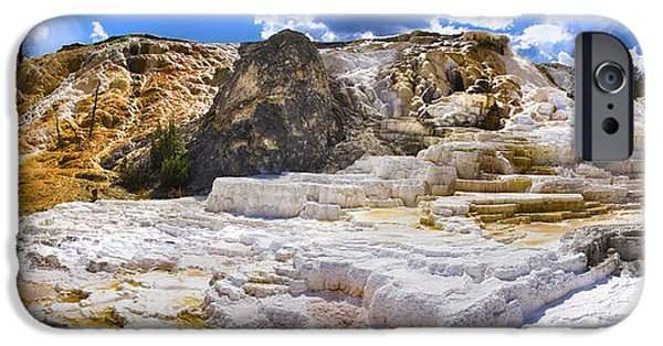 Mammoth Terrace iPhone Cases - Palette Spring Terrace Panorama - Yellowstone National Park Wyoming iPhone Case by Brian Harig