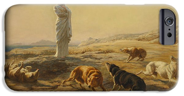 Briton iPhone Cases - Pallas Athena and the Herdsmans Dogs iPhone Case by Briton Riviere
