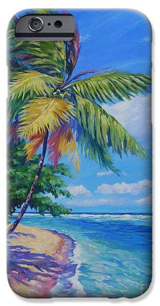 Bermudas iPhone Cases - Palm at the Waters Edge iPhone Case by John Clark