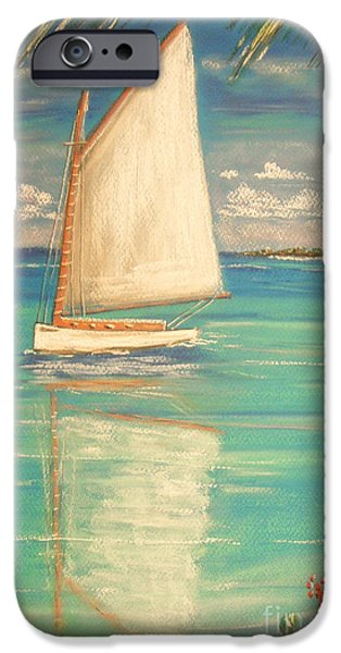Beach Landscape Pastels iPhone Cases - Palm Bay iPhone Case by The Beach  Dreamer