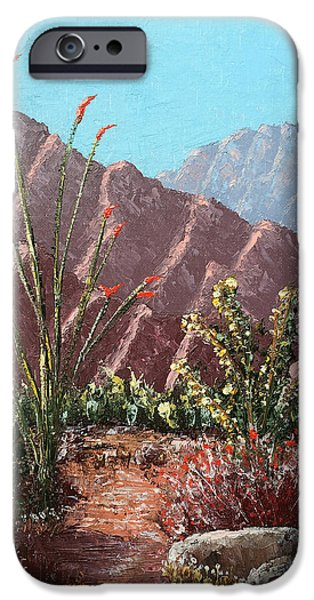 Pallet Knife Paintings iPhone Cases - Palm Desert Beauty iPhone Case by Jeff Owen