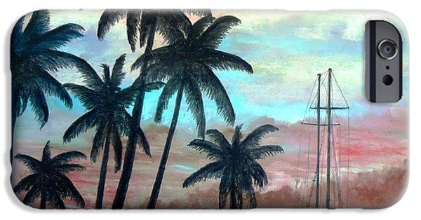 Sailboats Pastels iPhone Cases - Palm Harbor iPhone Case by Vincent Mancuso