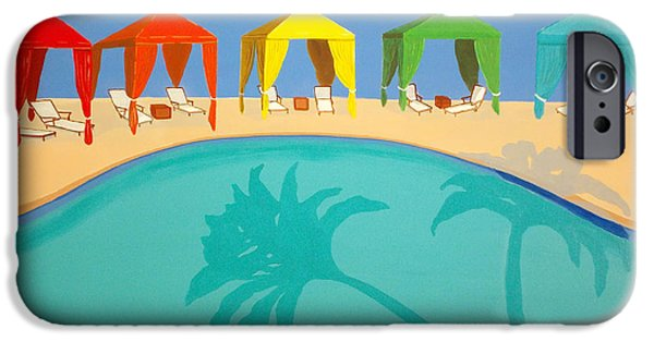 Escape Paintings iPhone Cases - Palm Shadow Cabanas iPhone Case by Karyn Robinson