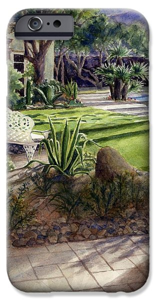 Janet King iPhone Cases - Palm Springs backyard iPhone Case by Janet King