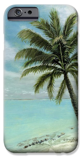 Tropical Paintings iPhone Cases - Palm Tree Study iPhone Case by Cecilia  Brendel