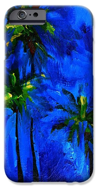 Tree Art Print iPhone Cases - Palm Trees Abstract iPhone Case by Patricia Awapara