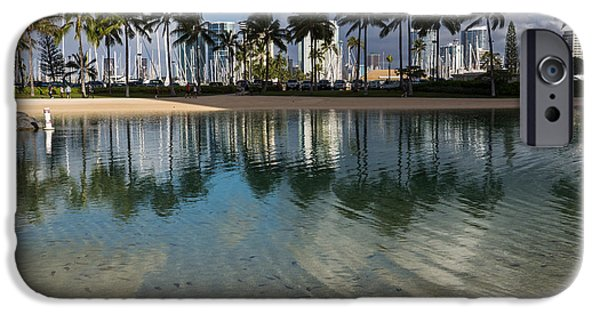 Village iPhone Cases - Palm Trees Crystal Clear Lagoon Water and Tropical Fish iPhone Case by Georgia Mizuleva
