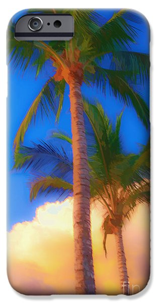 Fielding iPhone Cases - Palm Trees Hawaii Watercolor iPhone Case by Edward Fielding