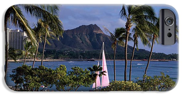 Sailboat Ocean iPhone Cases - Palm Trees On The Beach, Diamond Head iPhone Case by Panoramic Images