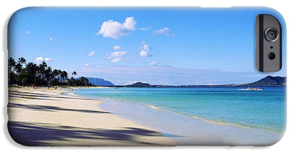Hawaii Islands iPhone Cases - Palm Trees On The Beach, Lanikai Beach iPhone Case by Panoramic Images