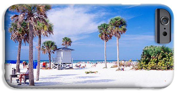 Seascape Photography iPhone Cases - Palm Trees On The Beach, Siesta Key iPhone Case by Panoramic Images