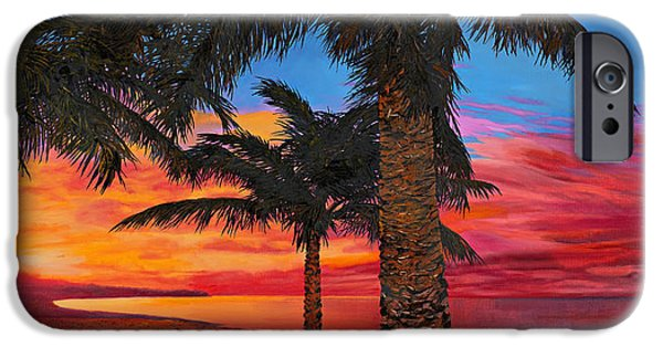 Palm Tree iPhone Cases - Palme Al Tramonto iPhone Case by Guido Borelli