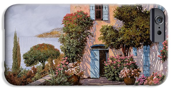 Lakescape iPhone Cases - Palmette Viola iPhone Case by Guido Borelli