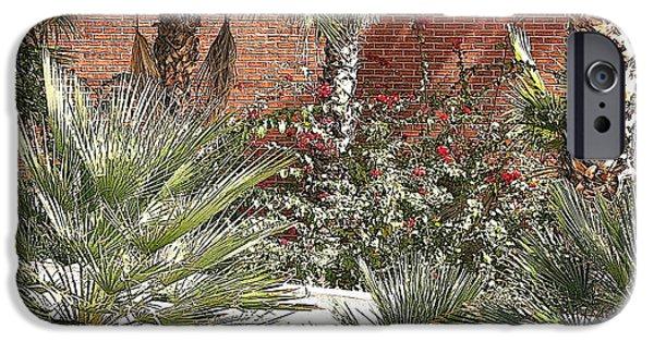 City Scape Digital Art iPhone Cases - Palms Against Brick iPhone Case by Joe Kozlowski