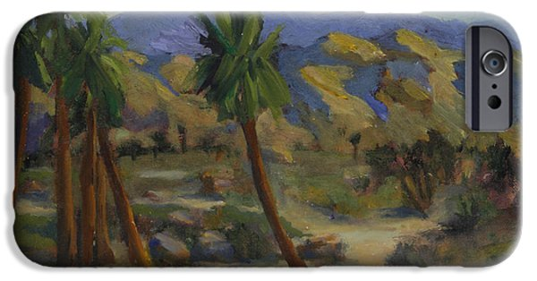 Desert Scape iPhone Cases - Palms in abstract iPhone Case by Maria Hunt