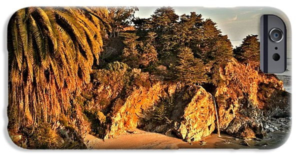 Big Sur Ca iPhone Cases - Palms Over McWay iPhone Case by Adam Jewell