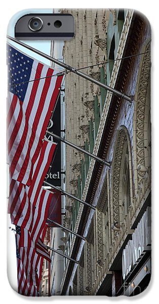 Flag iPhone Cases - Palomar Hotel and Old Navy on Market Street in Downtown San Francisco - 5D20728 iPhone Case by Wingsdomain Art and Photography