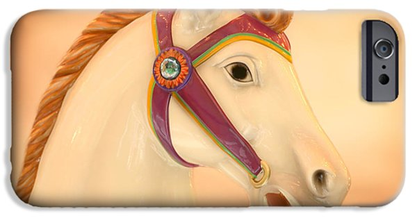 Serpent iPhone Cases - Palomino Carousel Horse iPhone Case by Sabrina L Ryan