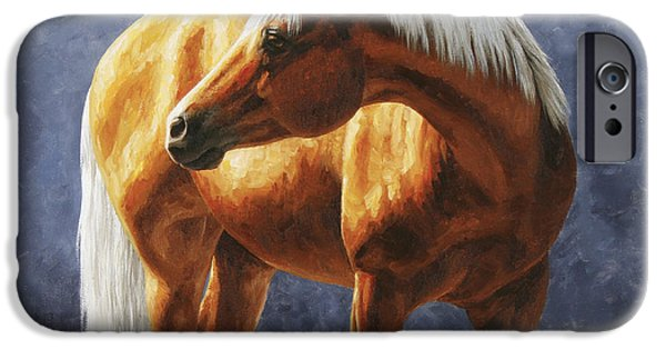 Quarter Horses iPhone Cases - Palomino Horse - Gold Horse Meadow iPhone Case by Crista Forest