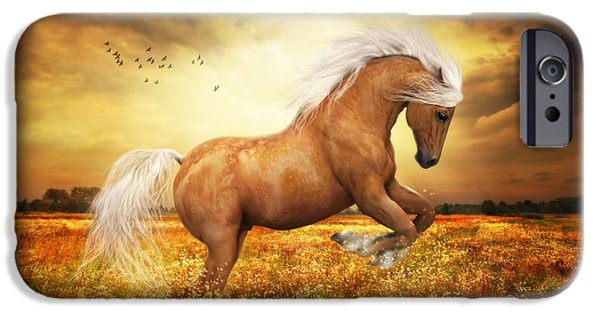 Field. Cloud Digital Art iPhone Cases - Palomino Horse Sundance  iPhone Case by Shanina Conway
