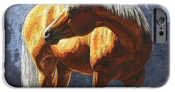 Quarter Horses iPhone Cases - Palomino Horse - Variation iPhone Case by Crista Forest