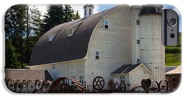 Agricultural iPhone Cases - Palosue Wagon Wheel Fence  iPhone Case by Inge Johnsson