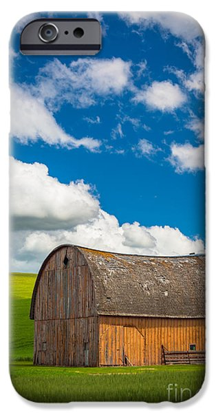 Agricultural iPhone Cases - Palouse Barn and Clouds iPhone Case by Inge Johnsson