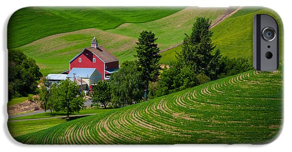 Agricultural iPhone Cases - Palouse Farm Landscape iPhone Case by Inge Johnsson