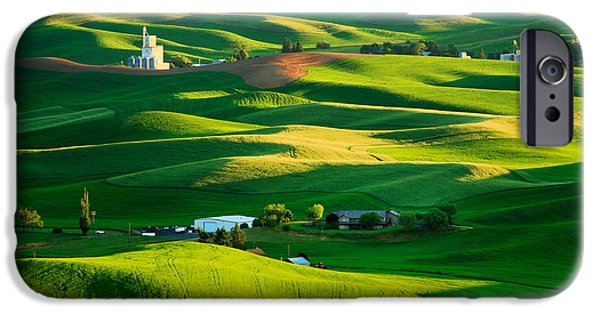 Agricultural iPhone Cases - Palouse Green Sea iPhone Case by Inge Johnsson