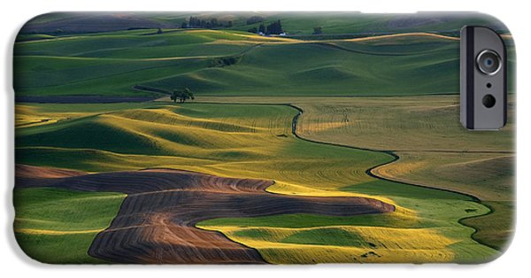 Crops iPhone Cases - Palouse Shadows iPhone Case by Mike  Dawson