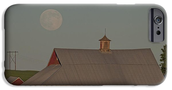 Wooden Building iPhone Cases - Palouse Solstice Moon iPhone Case by Latah Trail Foundation