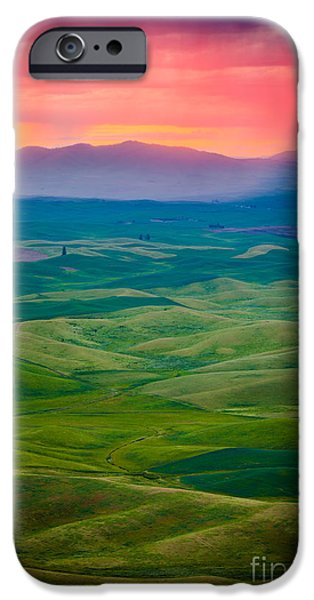 Agricultural iPhone Cases - Palouse Storm at Dawn iPhone Case by Inge Johnsson