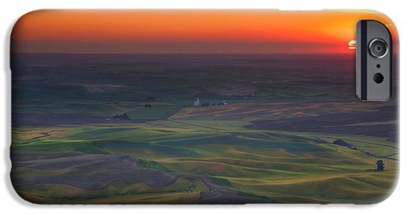 Agriculture iPhone Cases - Palouse Sunset iPhone Case by Mike  Dawson