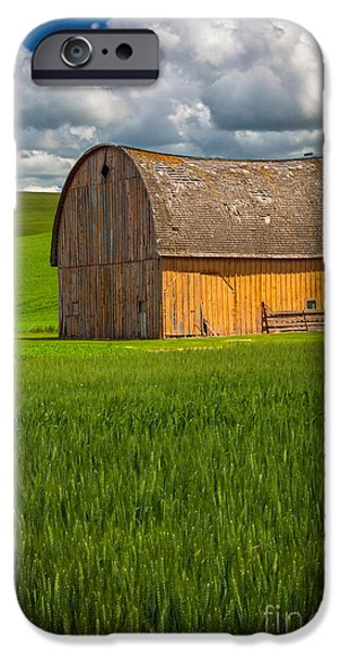 Agricultural iPhone Cases - Palouse Yellow Barn iPhone Case by Inge Johnsson