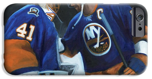 Hockey Paintings iPhone Cases - Pals iPhone Case by Joe Maracic