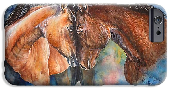Roping Horse iPhone Cases - Pals Too iPhone Case by Kim Whitton