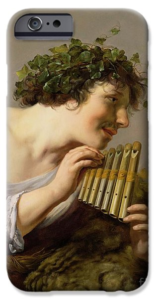 Vine Leaves iPhone Cases - Pan Playing his Pipes iPhone Case by Paulus Moreelse