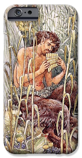 Ancient Paintings iPhone Cases - Pan Playing His Pipes iPhone Case by Walter Crane