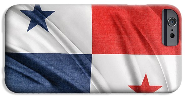 Textile Photographs iPhone Cases - Panama flag iPhone Case by Les Cunliffe