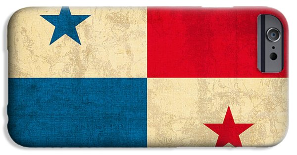 Nation iPhone Cases - Panama Flag Vintage Distressed Finish iPhone Case by Design Turnpike